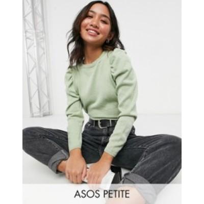 エイソス レディース ニット・セーター アウター ASOS DESIGN Petite puff sleeve top in sage Sage