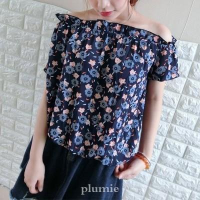 トップスレディースおしゃれtシャツ半袖花柄ブルーオフショルダーカットソーパフスリーブシフォンブラウス40代