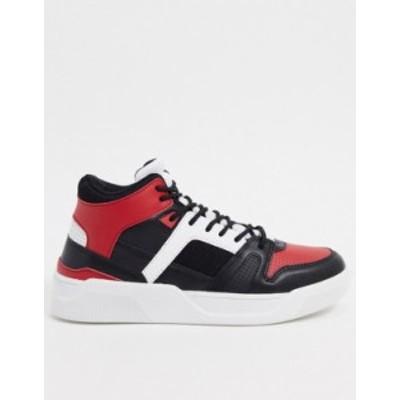 エイソス メンズ スニーカー シューズ ASOS DESIGN high top sneakers in black and red Red