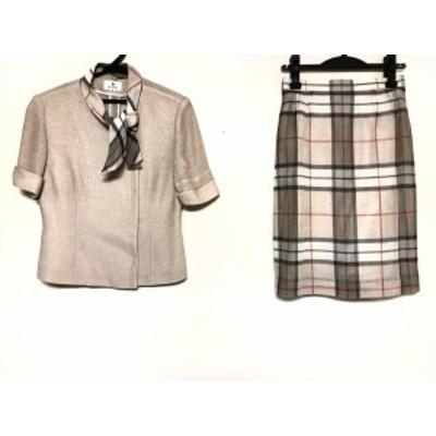 エムズグレイシー M'S GRACY スカートスーツ サイズ9 M レディース - ベージュ×マルチ チェック柄あり【中古】20200417