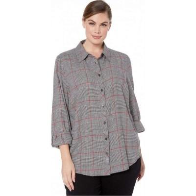 フォックスクロフト Foxcroft レディース ブラウス・シャツ 大きいサイズ トップス Plus Size Zoey Brushed Glen Plaid Shirt Multi