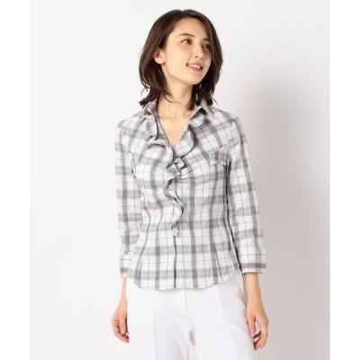 シャツ ブラウス チェックスーパーストレッチ襟付きフリル七分袖シャツ