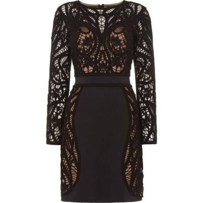 タダシショージ Tadashi Shoji レディース ワンピース シフトドレス ワンピース・ドレス Long Sleeve Lace Shift Dress Black