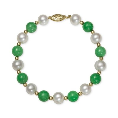 メイシーズ Macy's レディース ブレスレット ジュエリー・アクセサリー 14k Gold Bracelet, Cultured Freshwater Pearl and Jade Green
