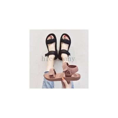 サンダルレディースストラップサンダルフラットソール滑り止めシューズマジックテープ女性靴夏走れる美脚靴通勤通学