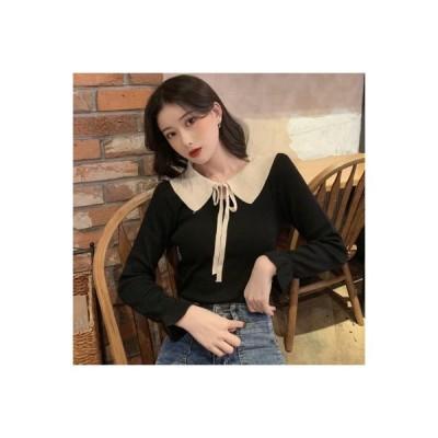 【送料無料】アーリー 秋 韓国風 風 トレンドカラー 人形の襟 ひもあり ヘッジ ニット ファッション | 364331_A63903-8545992