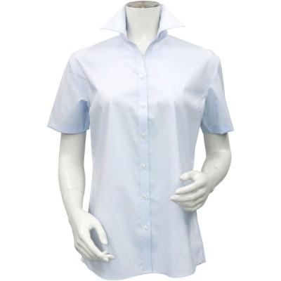 レディース ウィメンズシャツ 半袖 形態安定 スキッパー衿 サックス×斜めストライプ織柄 (COOLMAX(R) ストレッチ)