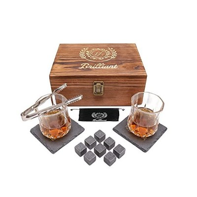 ブリリアントウイスキーストーングラスギフトセット - クリスタルウイスキーグラス2個 花崗岩冷却ストーン8個 スレートコースター2個 高級木製ボックス