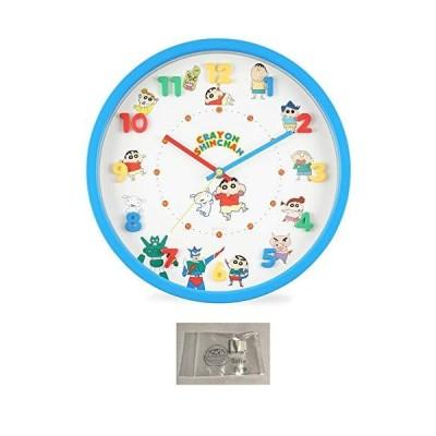 クレヨンしんちゃん 掛け時計 アイコン 壁掛け時計 連続秒針 ウォール クロック ブルー 当店オリジナルロゴ入