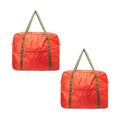 【AOTOBAG】洗える旅行用 2個セット 学生用 ポケッタブルボストンバッグ 折りたたみで大容量 40L 軽量 機内持ち込み可 (レッド)