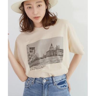 (coca/コカ)英字ロゴプリントTシャツ/レディース IVORY
