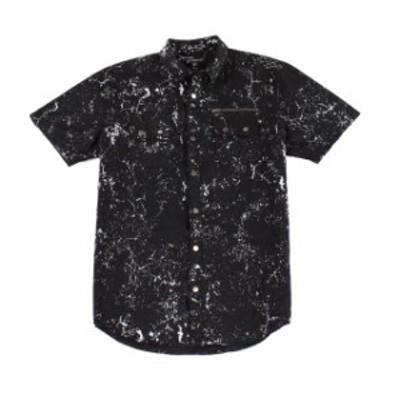 Pocket  ファッション アウター INC Mens Shirt Black Size 2XL Button Down Dual Pocket Short-Sleeve