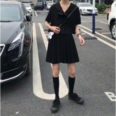 2019新しい 日本の甘い、ダーククール、学院風、制服、セーラーシャツ+ハイウエスト、スリム、プリーツスカート セット