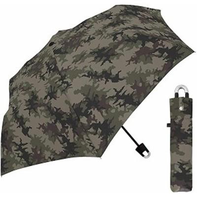 クラックス 折りたたみ傘 子供用 カラビナ 迷彩 カーキ 60cm