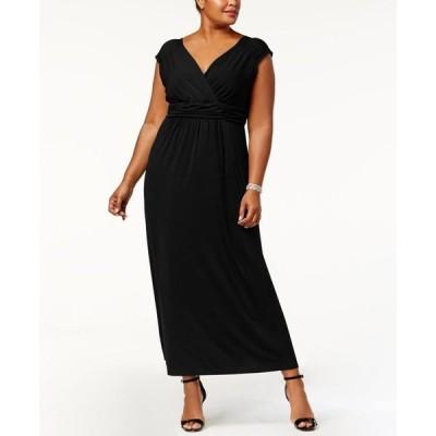 ニューヨークコレクション レディース ワンピース トップス Plus Size Ruched Empire Maxi Dress