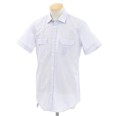 イレブンティ eleventy 総柄 半袖シャツ ホワイト×ブルー 38