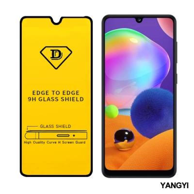 揚邑 Samsung Galaxy A31 全膠滿版二次強化9H鋼化玻璃膜防爆保護貼-黑