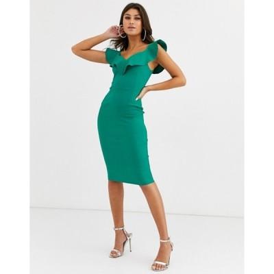 ベスパー レディース ワンピース トップス Vesper bodycon dress with sweetheart neckline with frill in emerald green