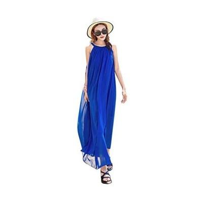 Drasawee マキシワンピース ロング ドレス ワンピース ノースリーブ ボヘミアン リゾート ハワイアン サマー フレッシュ(ブルー M)