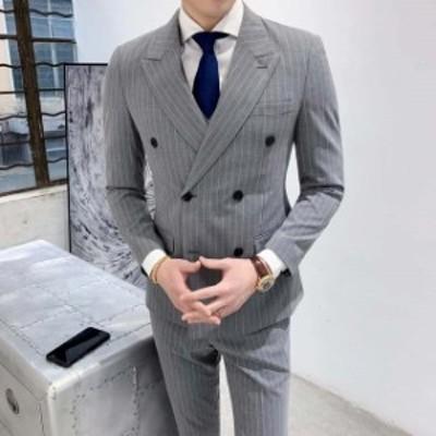 メンズ 3ピーススーツ 2つボタン 3点セット ストライプ ビジネススーツ 紳士服 フォーマル スーツ セットアップスーツ スリム 忘年会 結
