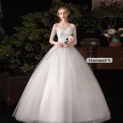 ウェディングドレス 花嫁 二次会 結婚式 コンサート 演奏会 パーティー 着痩せ ワンピース lf019