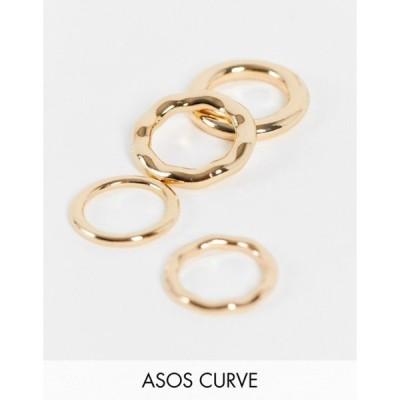 エイソス レディース 指輪 アクセサリー ASOS DESIGN Curve pack of 4 rings in tube design in gold tone