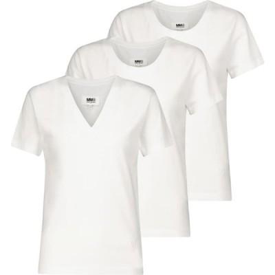 メゾン マルジェラ MM6 Maison Margiela レディース Tシャツ トップス Set of three cotton T-shirts White
