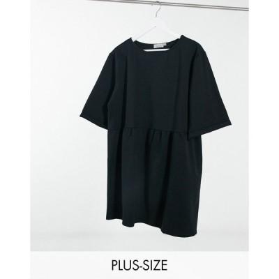 ストリートコレクティブ ドレス 大きいサイズ レディース Street Collective Curve mini drop waist sweater mini dress in black  エイソス ASOS sale ブラック