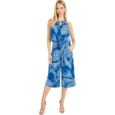 ロンドンタイムス London Times レディース オールインワン ジャンプスーツ ワンピース・ドレス Etched Palm Cropped Jumpsuit Blue