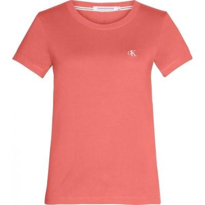 カルバンクライン Calvin Klein Jeans レディース Tシャツ スリム トップス Embroidered Logo Slim Fit T-Shirt SM ISLAND PNCH