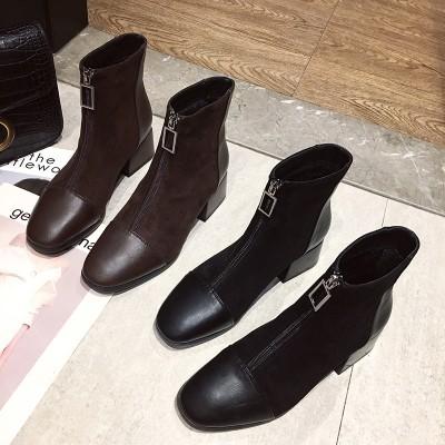 ブーツ ショートブーツ レディース マーティンブーツ 厚底 太ヒール 5cm 超軽量 安定感 美脚 歩きやすい 韓国ファッション 秋 冬 カジュアル スエード調
