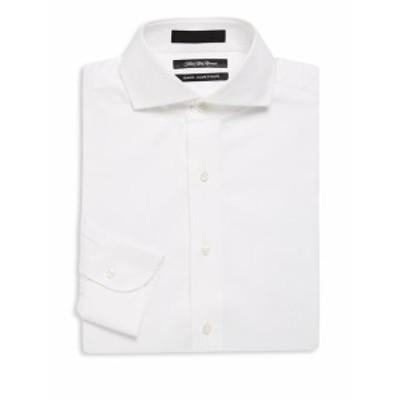 サックスフィフスアベニュー Men Clothing Solid Royal Cotton Dress Shirt