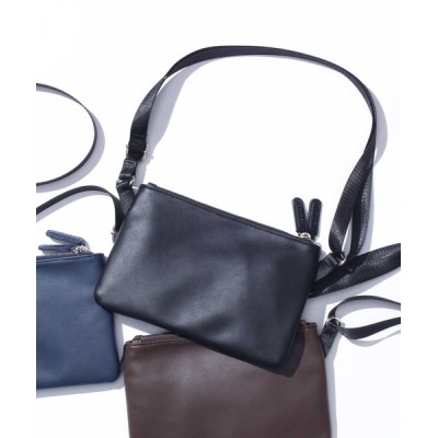 THE SHOP TK / 【WEB限定】スムースレザー調ダブルジップポケット付サコッシュ MEN バッグ > ショルダーバッグ