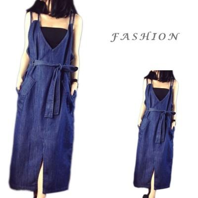 つりスカート ワンピース レディース  女の子 デニム ドレス  カジュアル  韓国風  可愛い 旅行  おしゃれ
