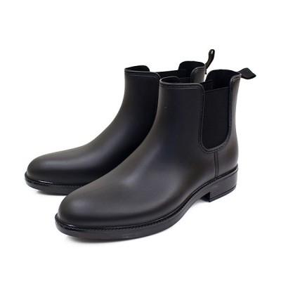 【トップイズム】 フェイクレザー サイドゴア レイン ショートブーツ メンズ ブラック LL(27.0cm-27.5cm) TopIsm