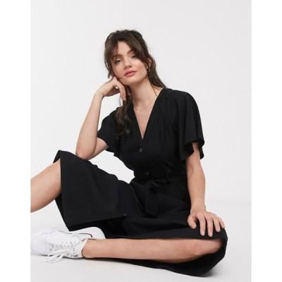 ホイッスルズ レディース ワンピース トップス Whistles frill sleeve button front midi dress in black