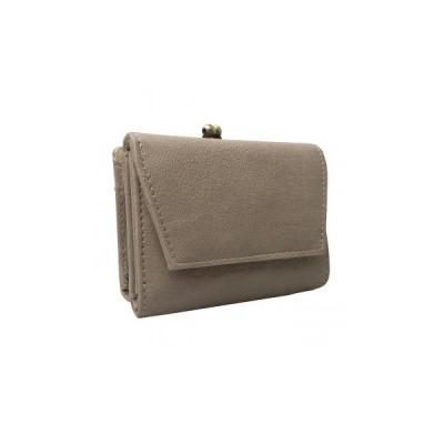 Pisoraro(ピソラロ) かぶせフラップがま口ミニウォレット 三つ折り財布 ベージュ PR106