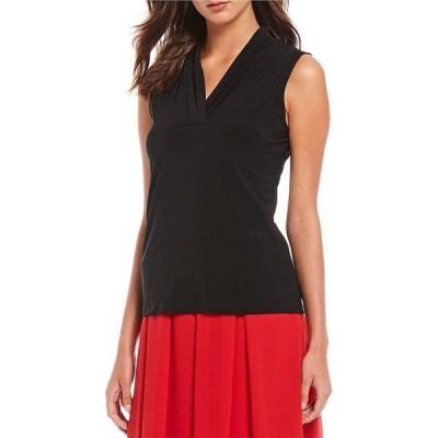 アンクライン レディース カットソー トップス Knit Jersey Pleated V-Neck Shell Black