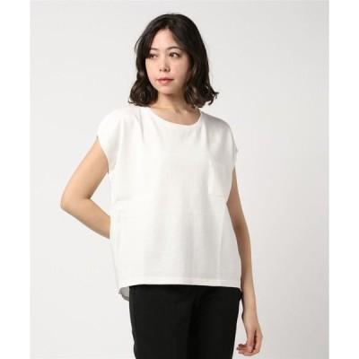 tシャツ Tシャツ 異素材ドッキングクルーネック半袖プルオーバーカットソー