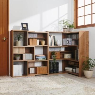 家具 収納 本棚 ラック シェルフ CDラック DVDラック 天然木調 伸縮式ブックシェルフ 3段・幅90~155cm 572614