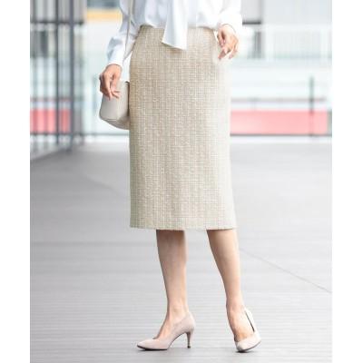 【ビームス ウィメン】 Demi-Luxe BEAMS / バックスリット ツイード タイトスカート 21FO レディース BEIGE 38 BEAMS WOMEN
