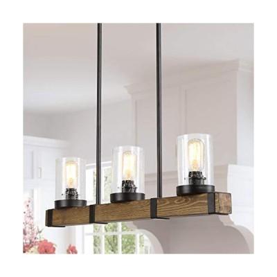 [新品]Farmhouse Chandelier for Dingin Rooms,3-Lights Kitchen Island Lighting,Rectangle Wood Chandelier with Seedy Glass Shape