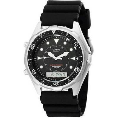 腕時計 カシオ Casio メンズ AMW-320R-1EV 'クラシック' アナログ-デジタル ブラック ラバー 腕時計
