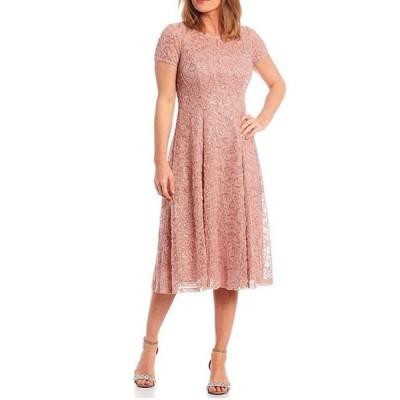 イグナイト レディース ワンピース トップス Petite Size Cap Sleeve Stretch Lace Sequin Soutache A-line Dress