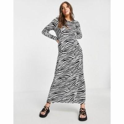 エイソス ASOS DESIGN レディース ワンピース Tシャツワンピース ワンピース・ドレス long sleeve maxi t-shirt dress in zebra print
