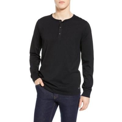 スコッチアンドソーダ メンズ Tシャツ トップス Long Sleeve Jersey Grandad T-Shirt 0008-BLACK