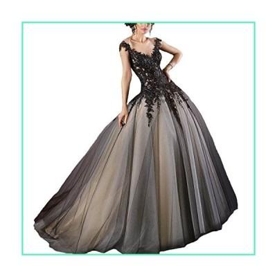 Fair Lady Gothic Black Ball Gown Wedding Dress Halter Beaded Appliques Long Evening Prom Dress 2020並行輸入品