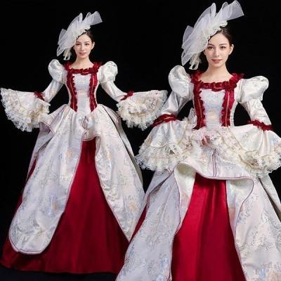 貴族 ドレス ステージ衣装 舞台衣装 オペラ声楽 中世貴族風 お姫様 クリスマス パーティー ファスナータイプ 演奏会用 大きいサイズ 刺繍 フリル 長袖 Aライン