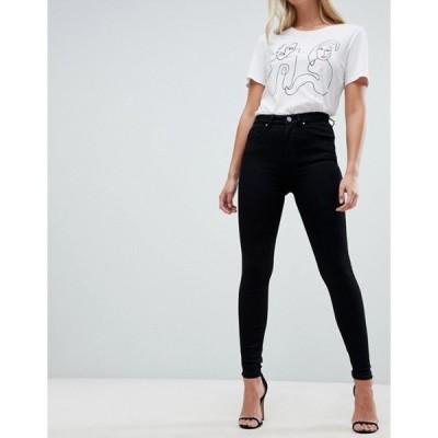 エイソス レディース デニムパンツ ボトムス ASOS DESIGN 'Sculpt me' high waisted premium jeans in clean black
