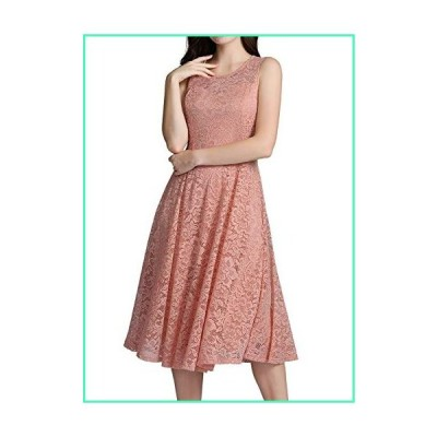 ALAGIRLS Women's Lace Vintage Midi Bridesmaid Dress Tea Length Wedding Formal Party Swing Gowns Pocket ALA5006BlushXL並行輸入品